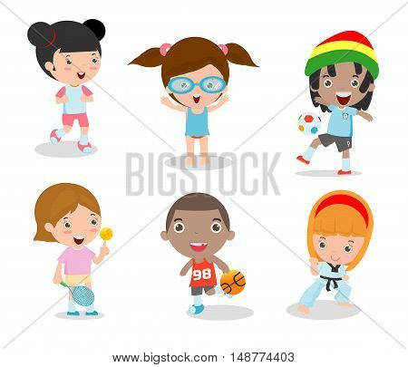 kids and sport, Kids playing various sports on white background , Cartoon kids sports,running, football, tennis, Taekwondo, karate, Swimming,Vector illustration