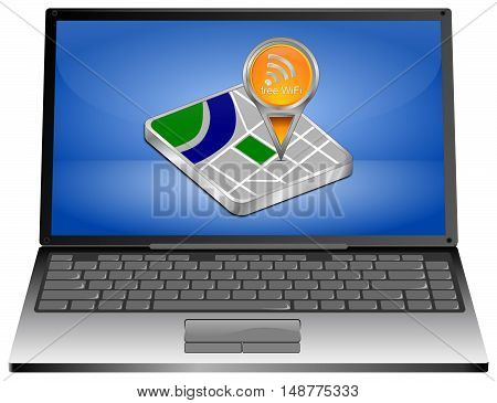 Laptop computer with map pointer with free WiFi Symbol - 3D illustration