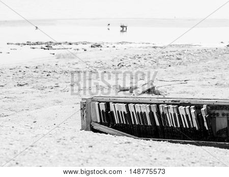 A broken piano carelessly discarded on the shore of the Salton Sea near Bombay Beach in California USA. The picture is monochrome.