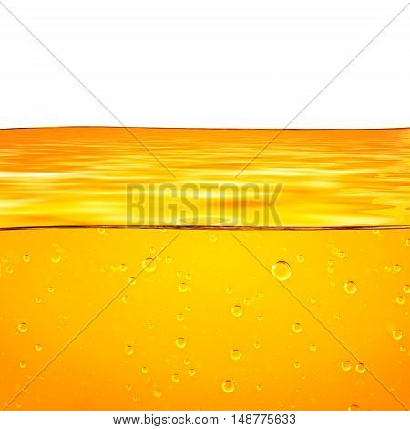 Oil. Honey. Beer. Juice. Orange yellow Liquid with oxygen bubbles. Closeup. Orange yellow waves and white background for text.