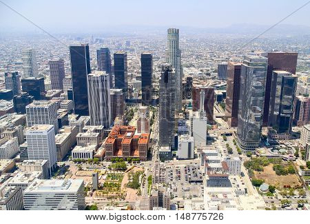 LOS ANGELES, USA - MAY 27, 2015: Aerial view of the skyline of Downtown Los Angeles.
