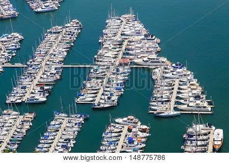 LOS ANGELES, USA - MAY 27, 2015: Aerial view of boats and yachts moored in Marina del Rey.