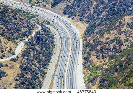LOS ANGELES, USA - MAY 27, 2015: Aerial view of a part of the Interstate 405 near Bel Air.