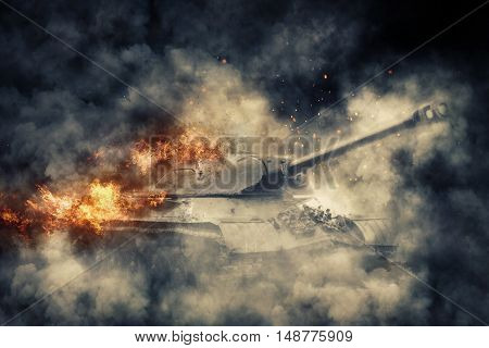 Burning tank in a puff of smoke. Battle scene