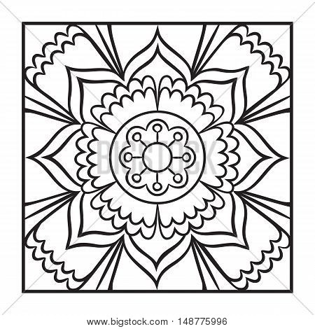 Doodle mandala coloring page. Outline floral design element. Coloring book pattern. Decorative round flower. Anti-stress therapy pattern on white background. Meditation poster. Vector illustration.