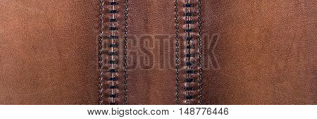 Brown leather background. Texture of natural brown leather