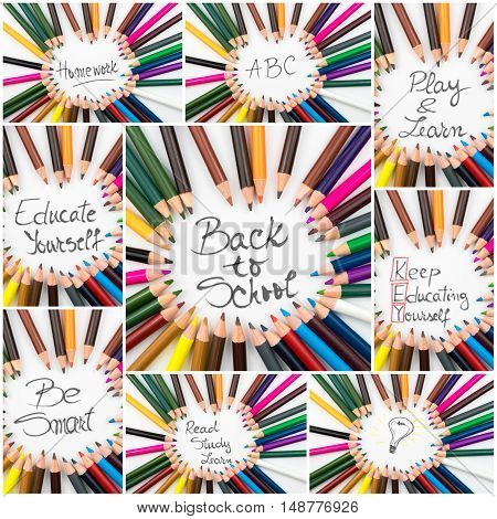 Photo Collage Of Back To School Conceptual Images
