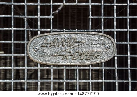 KIEV UKRAINE - April 26 2015: The Retro OldCarFest in Kiev. Retro logo Land Rover closeup on a radiator.