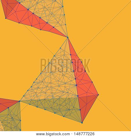 Abstract polygonal geometrical background. Futuristic backdrop in molecular style. Beautiful vector illustration made from triangular shapes in blue, orange and yellow colours.