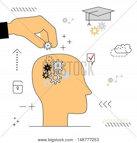 Human head with gears . Thinking education. Hand puts the item into your head . Vector illustration of a flat on a white background