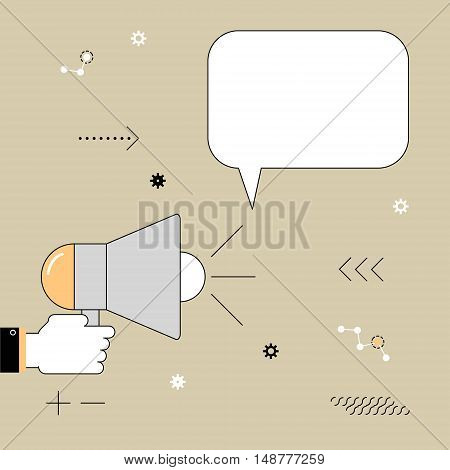 Megaphone. The speaker voiced information. Vector illustration of a linear flat