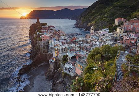 Vernazza. Image of Vernazza (Cinque Terre, Italy), during sunset.
