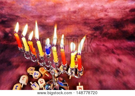 Jewish Holiday Hanukkah background with menorah Hanukkah candles
