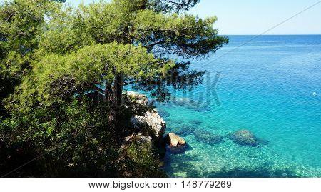 Croatian beach at sunny day, Omis, Croatia