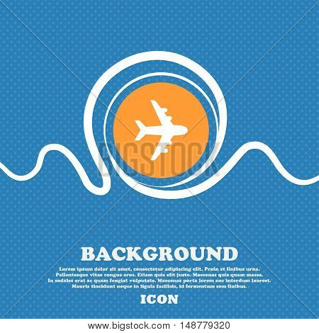Plane Icon Sign. Blue And White Abstract Background Flecked With Space For Text And Your Design. Vec