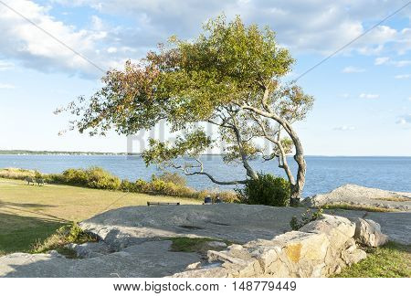 Early autumn Acushnet River outer harbor at Fort Phoenix in Fairhaven Massachusetts