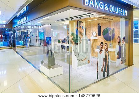 HONG KONG - CIRCA JANUARY, 2016: Bang & Olufsen store at a shopping mall in Hong Kong. Bang & Olufsen is a Danish consumer electronics company.