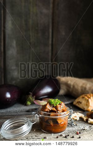 Eggplant caviar with ciabatta, punch, pepper and basil Eggplant dip Vertical shoot
