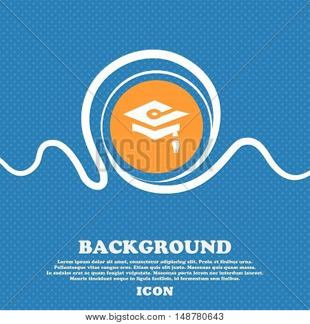 Graduation Icon Sign. Blue And White Abstract Background Flecked With Space For Text And Your Design