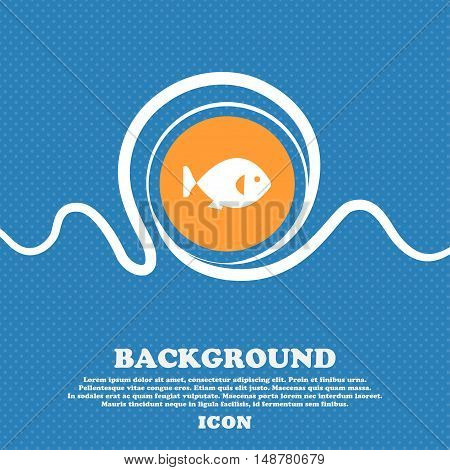 Fish Icon Sign. Blue And White Abstract Background Flecked With Space For Text And Your Design. Vect