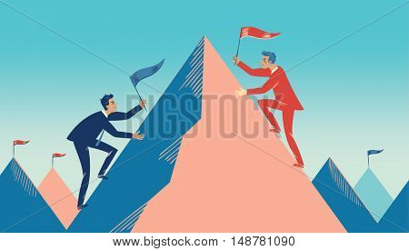Concept of business as competition, showing two businessmen climbing on either side of a mountain to lead their business to the top.