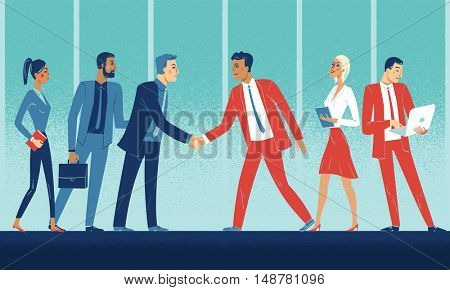 Business meeting of two companies. Shaking hands, a meet and greet between the two companies, one wearing red, the other blue, international, mixed gender teams.