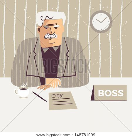 Middle-aged male boss sitting at his desk with a mid-morning coffee and a contract.