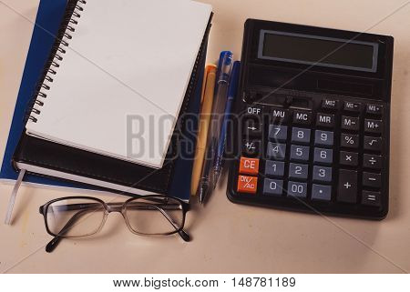 Calculator, Notepad And Pencil,