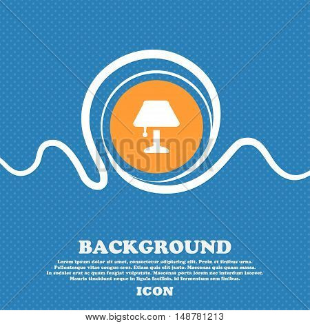 Table Lamp Icon Sign. Blue And White Abstract Background Flecked With Space For Text And Your Design