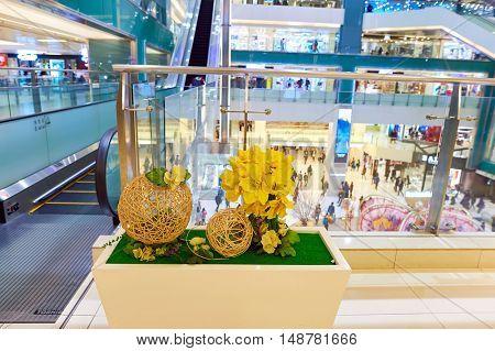 HONG KONG - CIRCA JANUARY, 2016: inside of a shopping mall in Hong Kong. Shopping is a widely popular social activity in Hong Kong.
