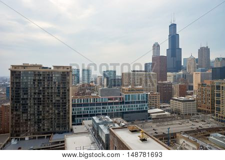 CHICAGO, IL - CIRCA MARCH, 2016: view of Chicago at daytime. The city is an international hub for finance, commerce, industry, technology, telecommunications, and transportation.