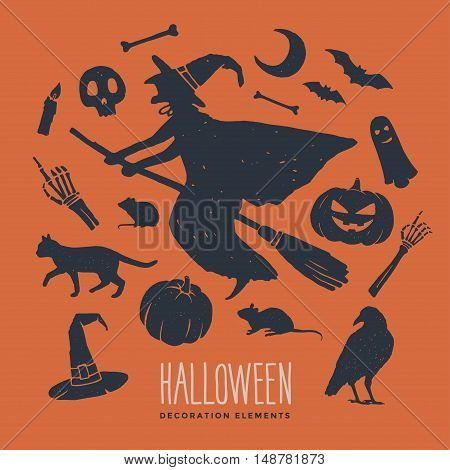 Witch on broomstick. Decorative elements on the theme of Halloween. Set of silhouettes for Halloween holidays.