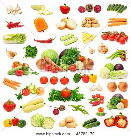 Composition with assorted raw organic vegetables Isolated on white background