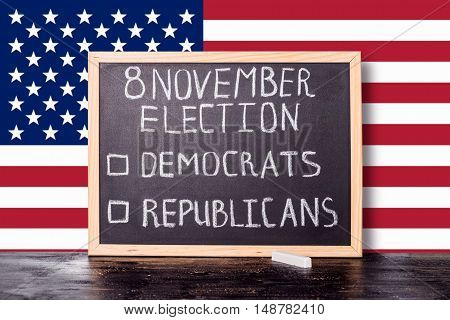 Usa Election Concept With Flag And Handwriting Text 8 November Election Democrats Republicans Writte