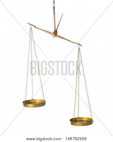 balance abstract concept of vintage brass scales is isolated on white background close up