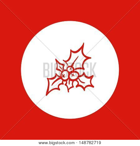 Sprig of holly with red berries. Hand drawn Christmas and New Year icon, vector design element, red line illustration isolated on white.