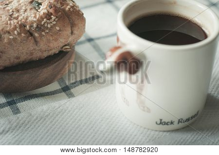 breakfast in the morning, coffee bread cereal, wheat gain bread, healhty