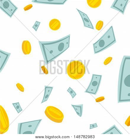 Finance concept. Money rain. Banknotes and coins falling from the sky 10EPS vector illustration
