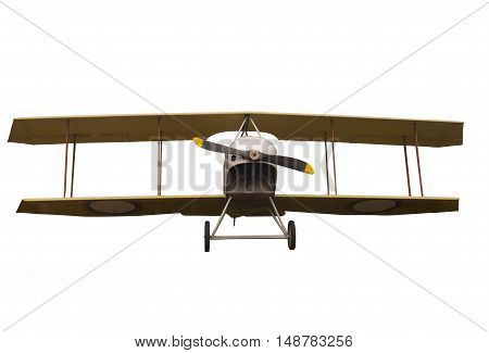 Vintage Propeller Biplane Isolated on White Background