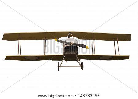 Vintage Propeller Biplane Isolated on White Background