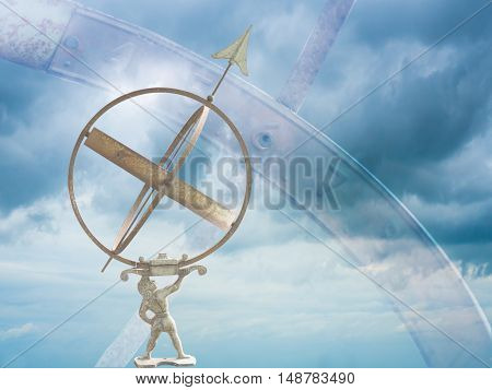 armillary sphere dial isolated on bright sky background. The idea of predicting the stars.