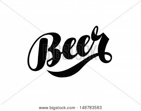 Beer hand lettering. Alcoholic beverage logo, label. Vector illustration