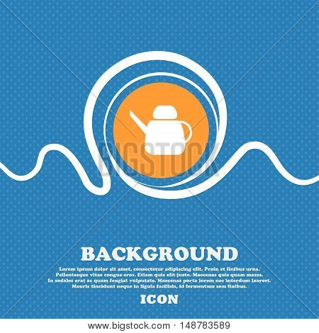 Kettle Icon Sign. Blue And White Abstract Background Flecked With Space For Text And Your Design. Ve