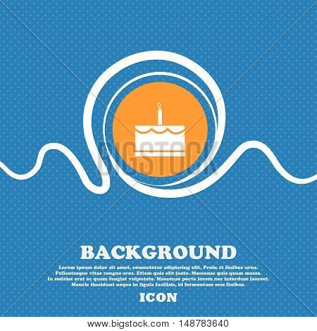 Birthday Cake Icon Sign. Blue And White Abstract Background Flecked With Space For Text And Your Des