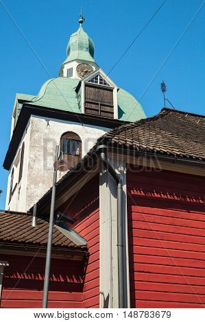 Separate belltower of Porvoo Cathedral in Finland