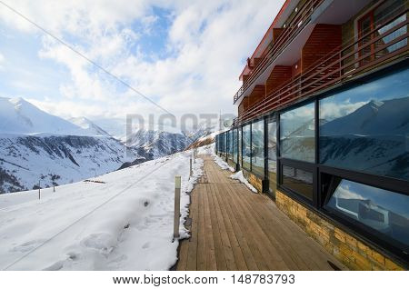 Ski resort in mountains. Extreme sport tourism concept for snowboard ride in alpes swiss norwegian. Oppening snow