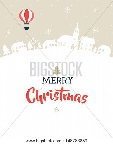 Merry Christmas, magic winter village with lettering, modern poster, greeting card and illustration