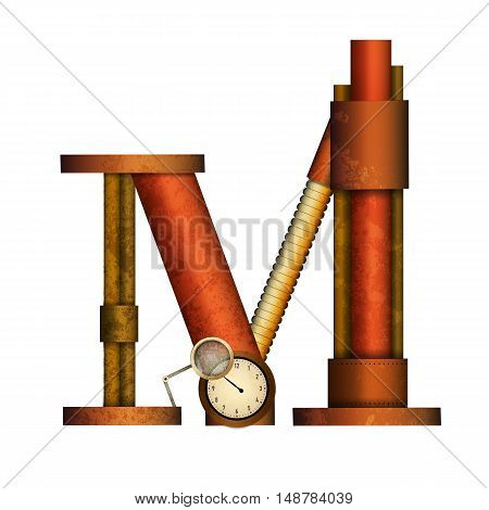 Steampunk alphabet letter for your design. Vector illustration.