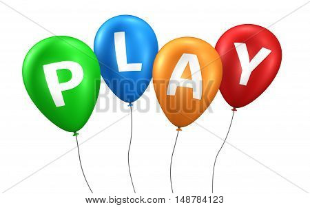 Play sign and word on colorfull balloons 3D illustration.