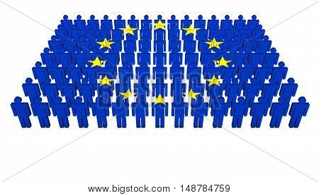 European Union community concept with EU flag on people parade 3D illustration on white background.